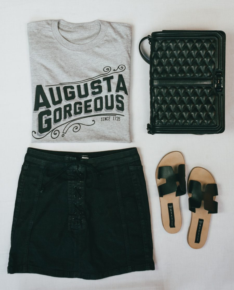Flatlay with gray Augusta Gorgeous shirt