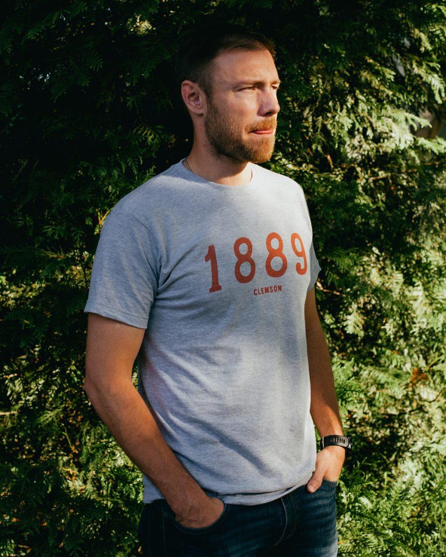 Man wearing gray 1889 Clemson South Carolina shirt