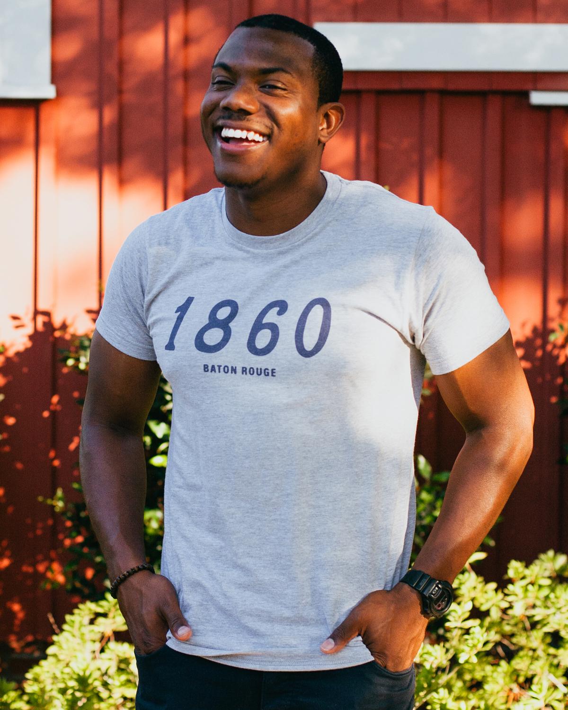 Man wearing gray 1860 Baton Rouge Louisiana shirt