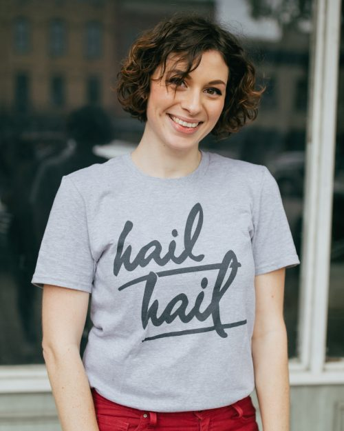 Woman wearing gray Ann Arbor Michigan Hail Hail shirt