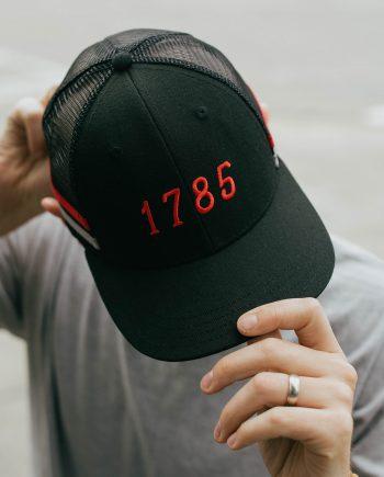 EST 1785 | Athens, Georgia Black Trucker Hat with Stripes